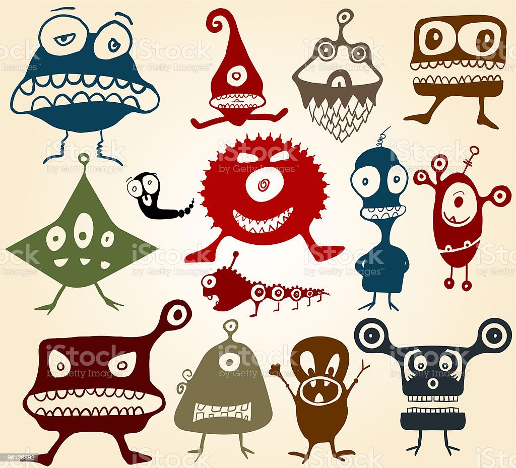 Many cute doodle monsters royalty-free stock vector art