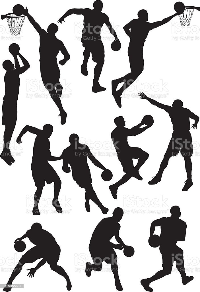 Many different basketball silhouettes vector art illustration