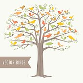 Many different birds in a big tree.