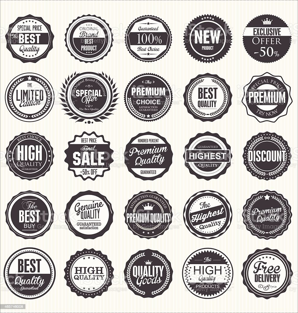 Many different black-and-white retro quality badges vector art illustration