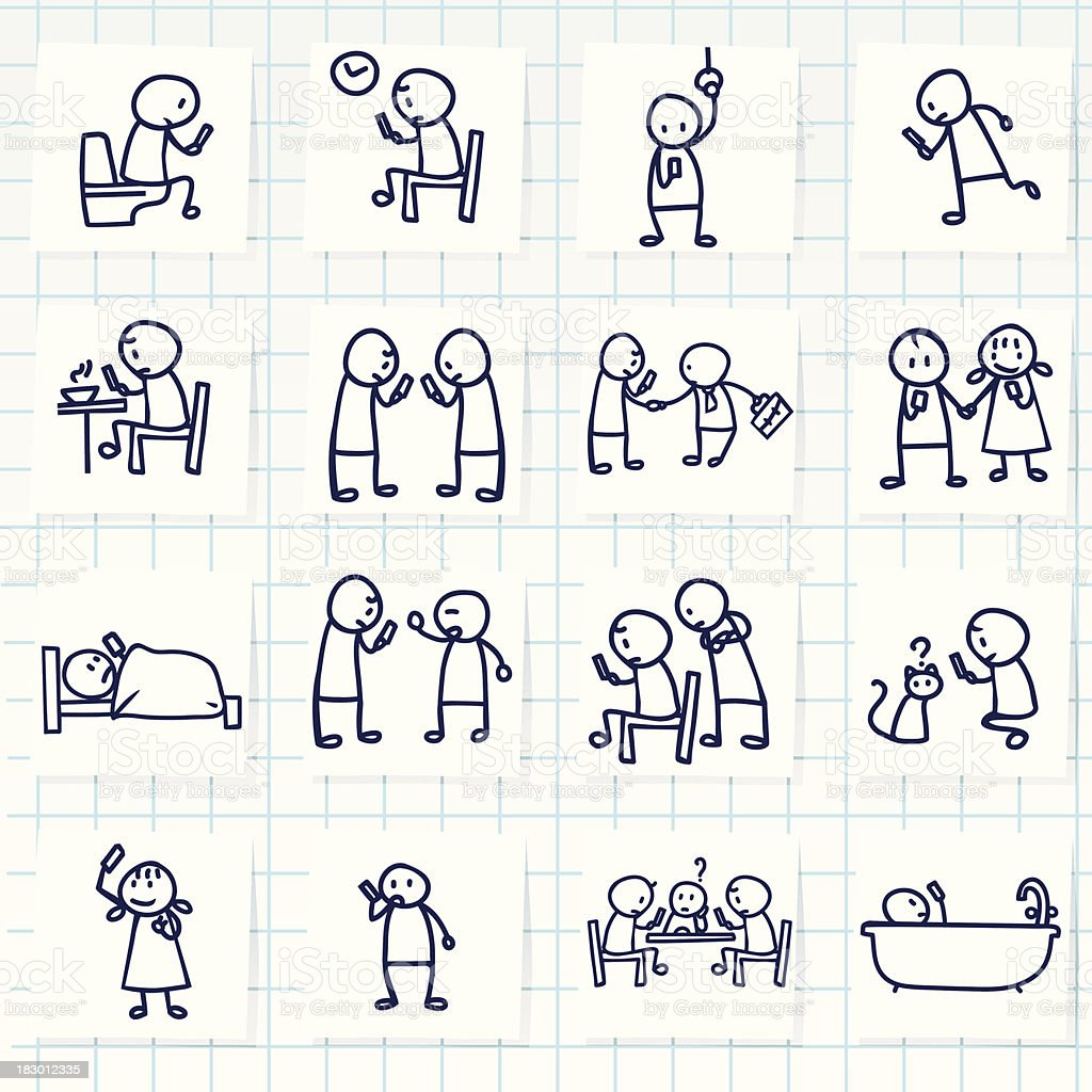 Many different drawings of people using smartphones royalty-free stock vector art