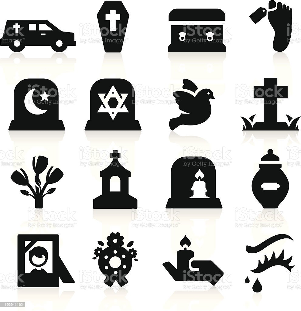 Many different funeral computer icons vector art illustration