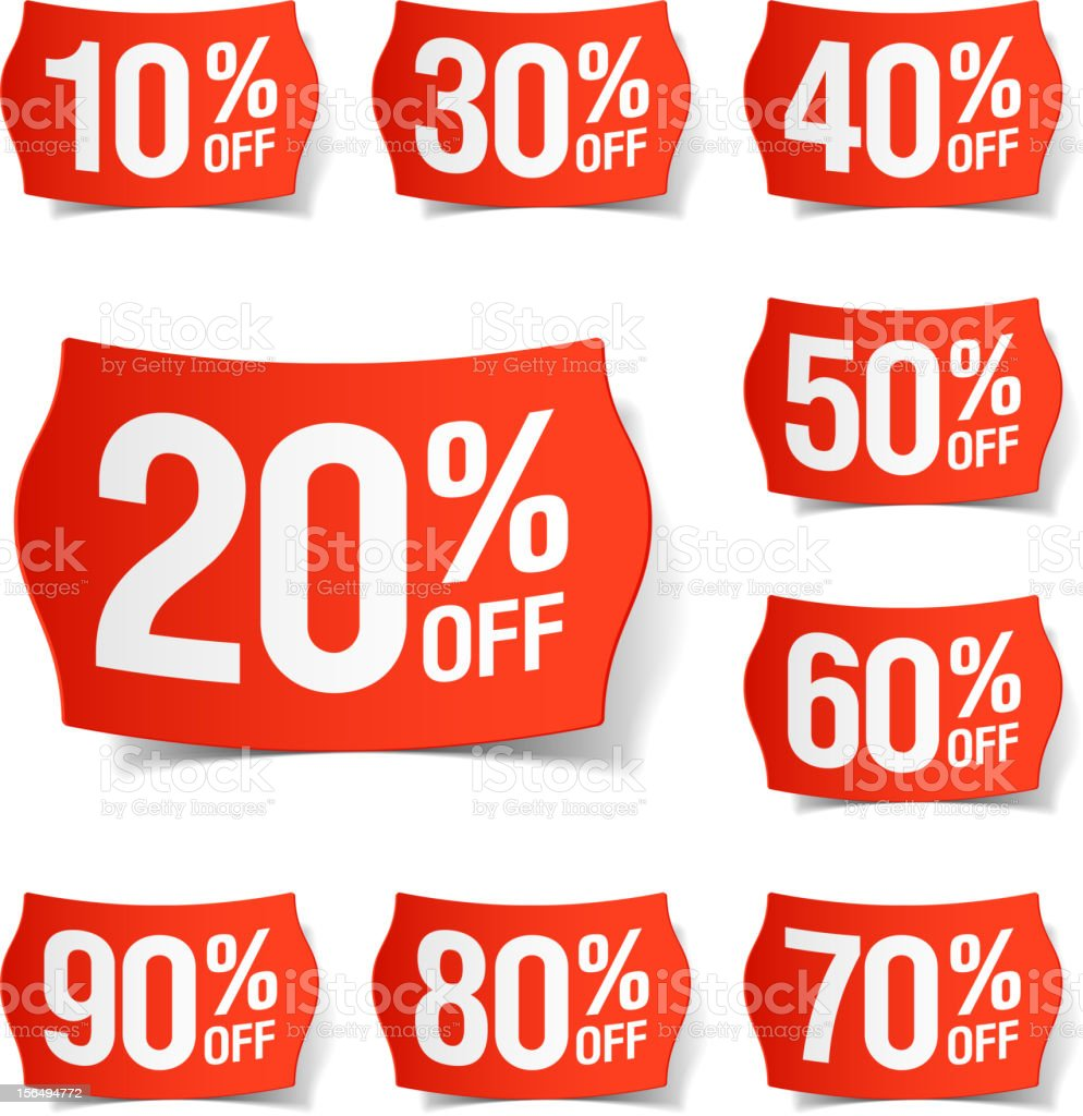 Many different price discount tags vector art illustration