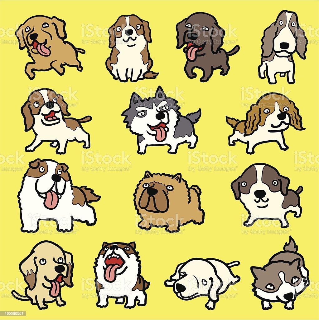 many dogs royalty-free stock vector art