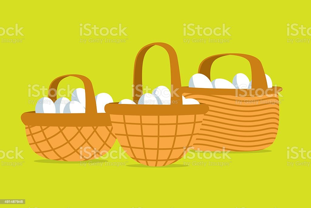 Many eggs put in different basket vector art illustration