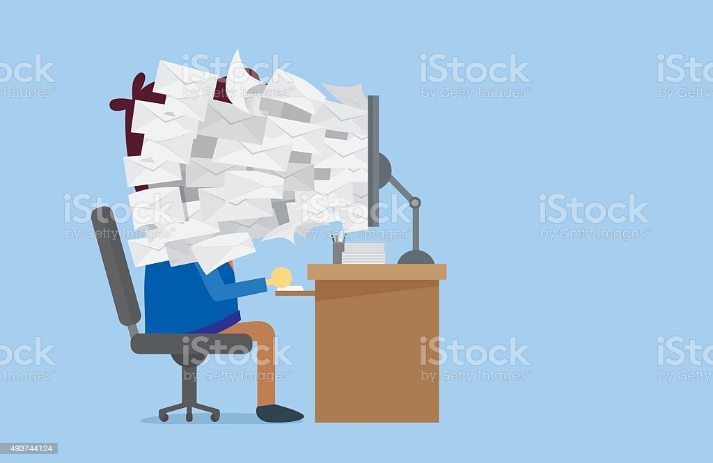 Many E-mail out of computer screen to worker face vector art illustration