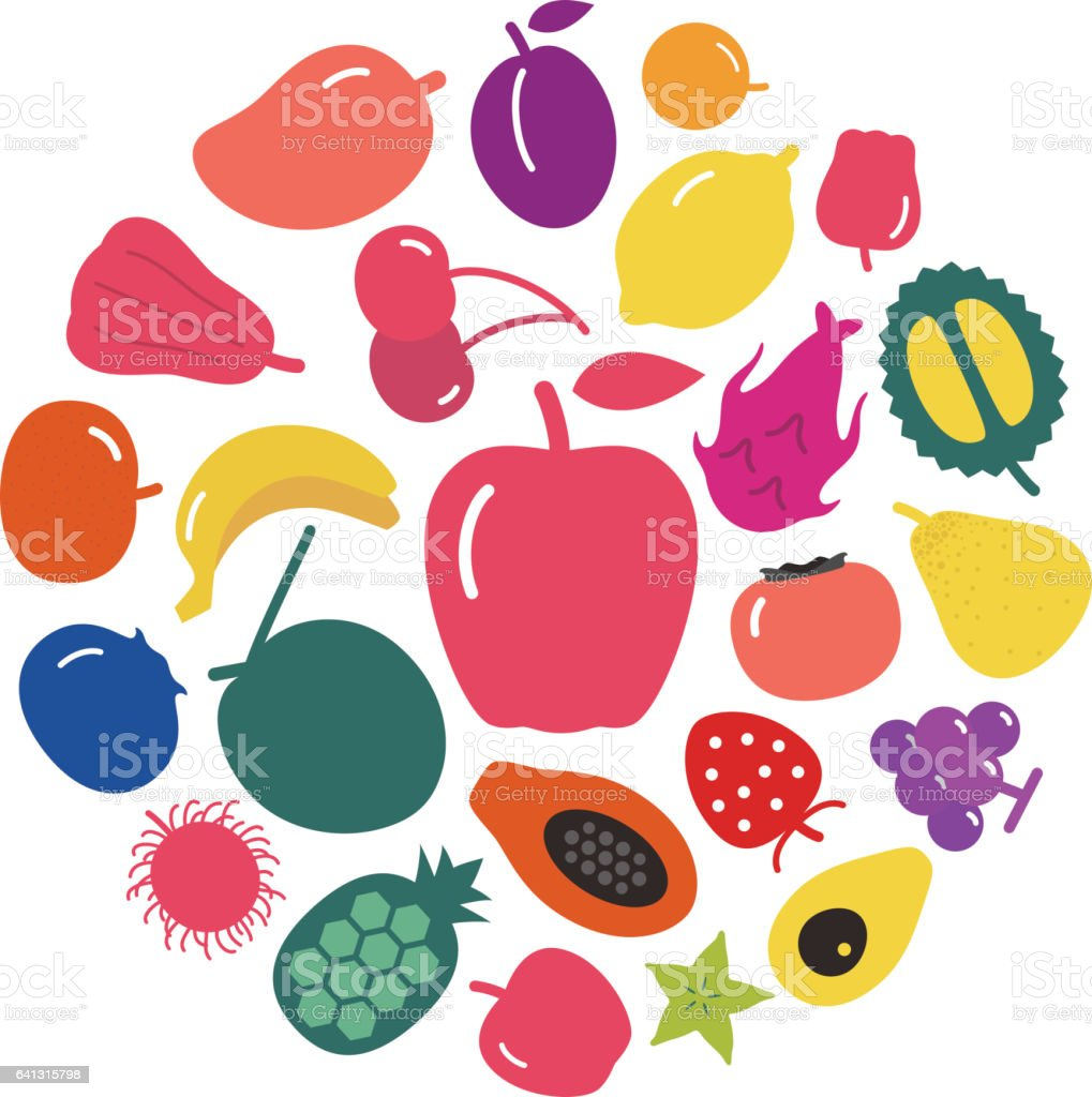 many fruit simple icons set, circle, vector vector art illustration