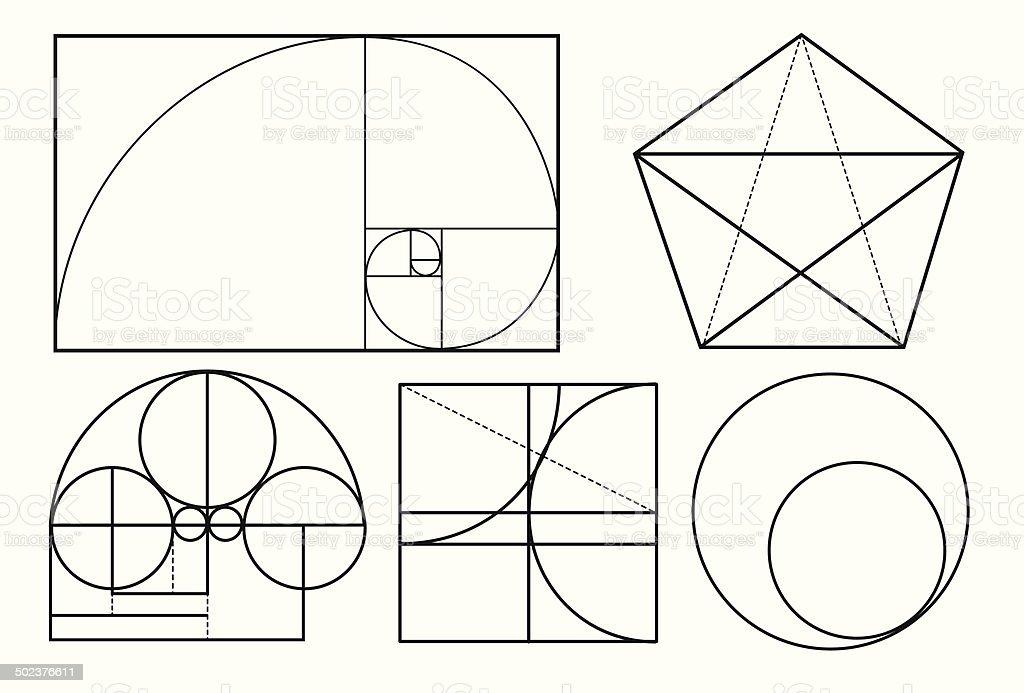 Many Golden Ratio Compositions vector art illustration