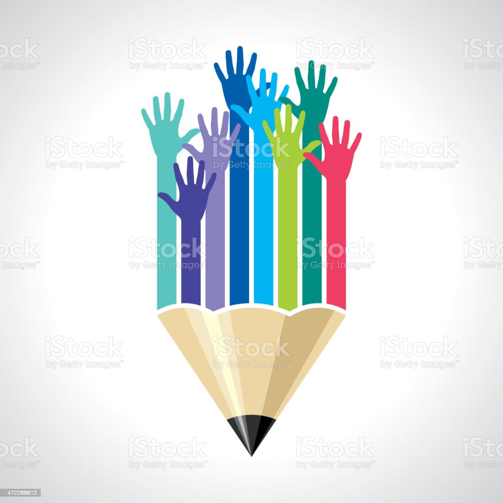 many hands of students vector art illustration