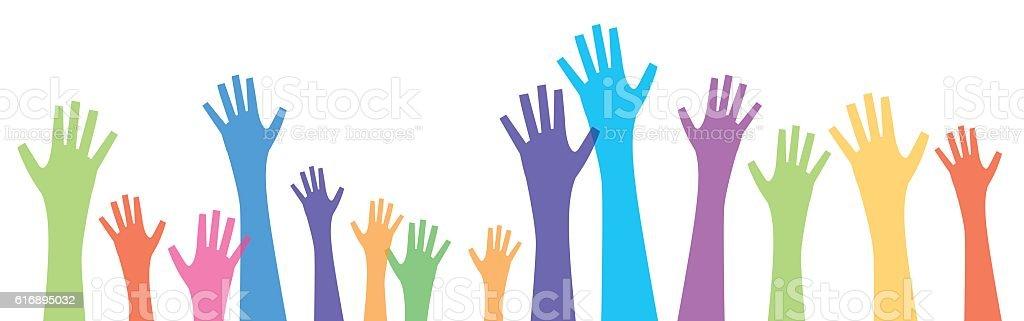 Many Hands Reaching Up vector art illustration