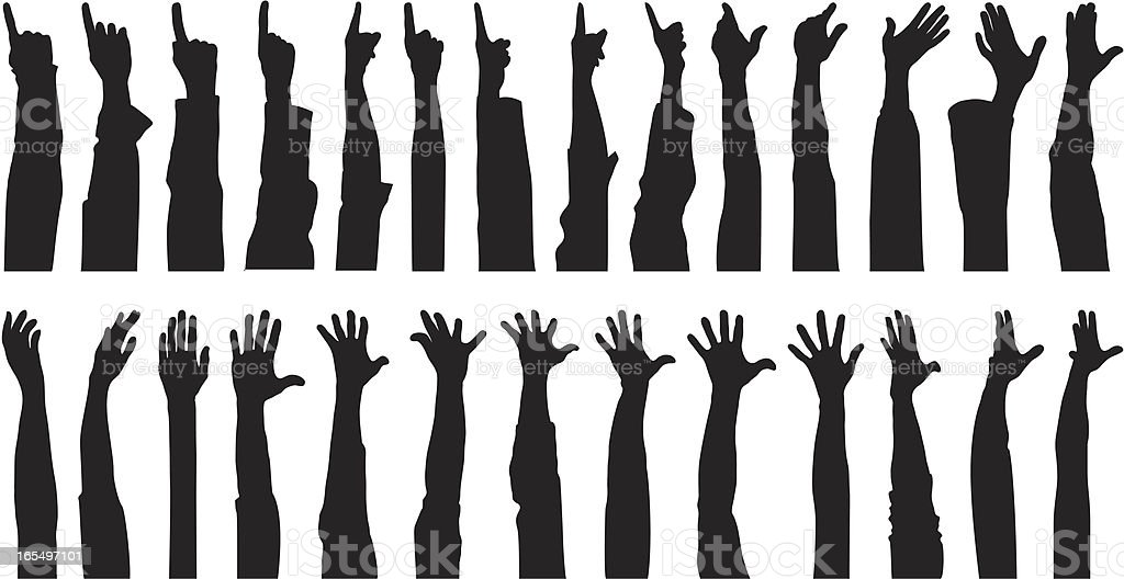 Many Hands vector art illustration