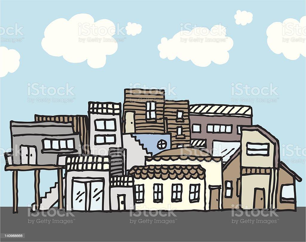 Many houses / Tight community royalty-free stock vector art