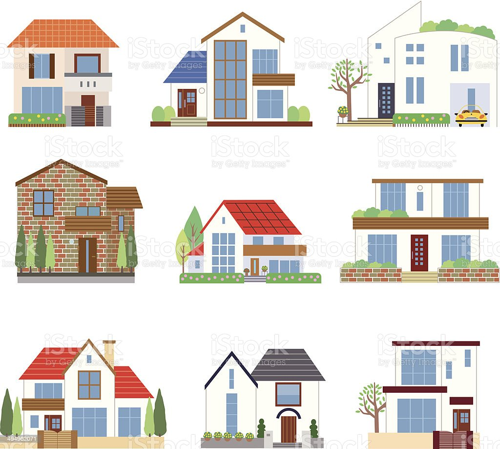 Many houses vector art illustration