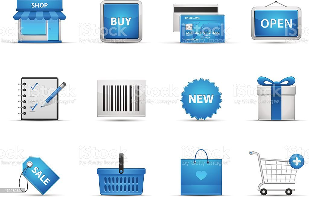 Many icons used to depict shopping royalty-free stock vector art