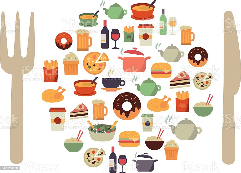 Many illustrations of food icons vector art illustration