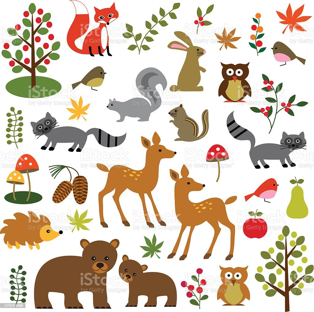 Many illustrations of woodland animals vector art illustration