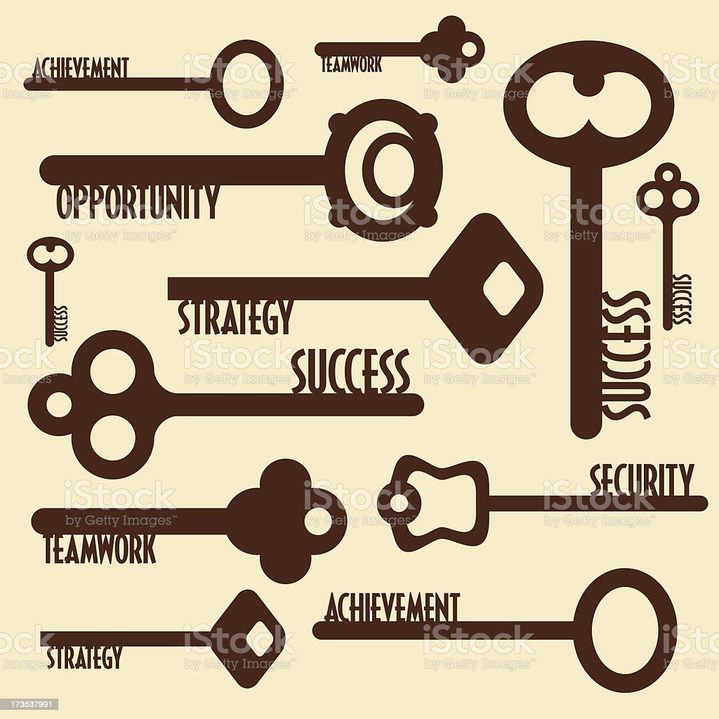 many keys with words royalty-free stock vector art