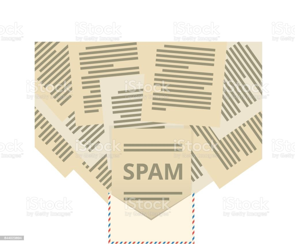 Many letters flying out of an envelope with the word spam vector art illustration