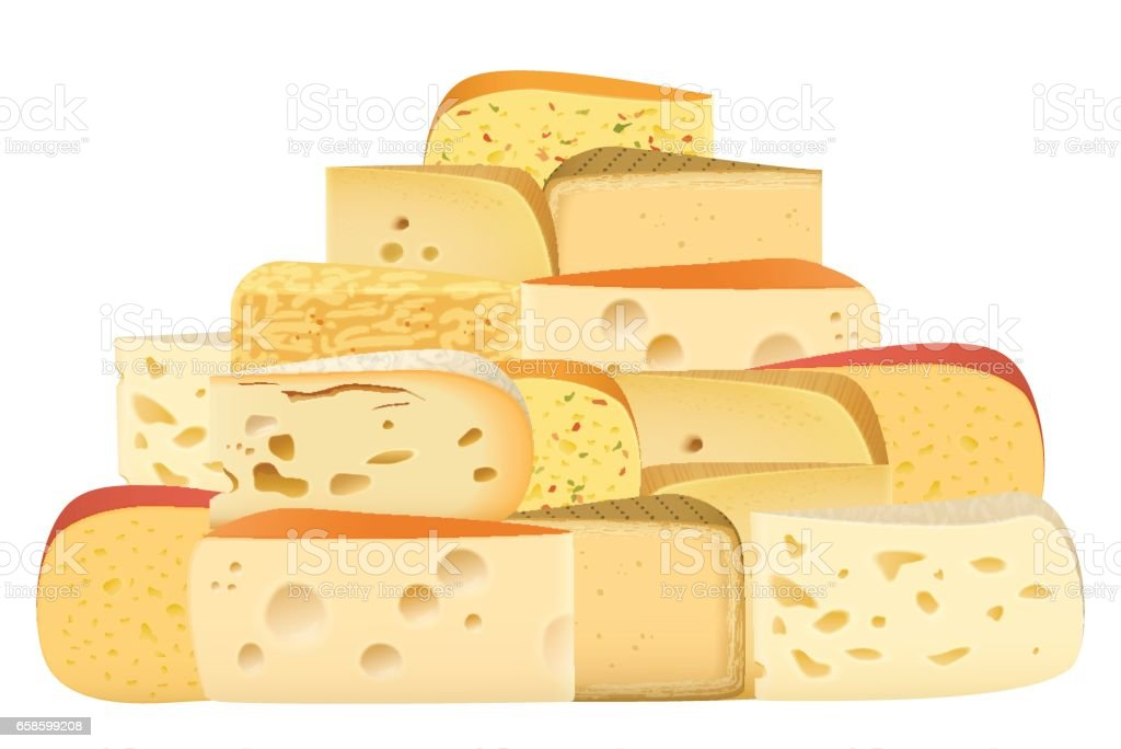 Many pieces of Various types of Cheese together set. Parmesan mozarella swiss emmentaler cheddar gouda collection. vector art illustration