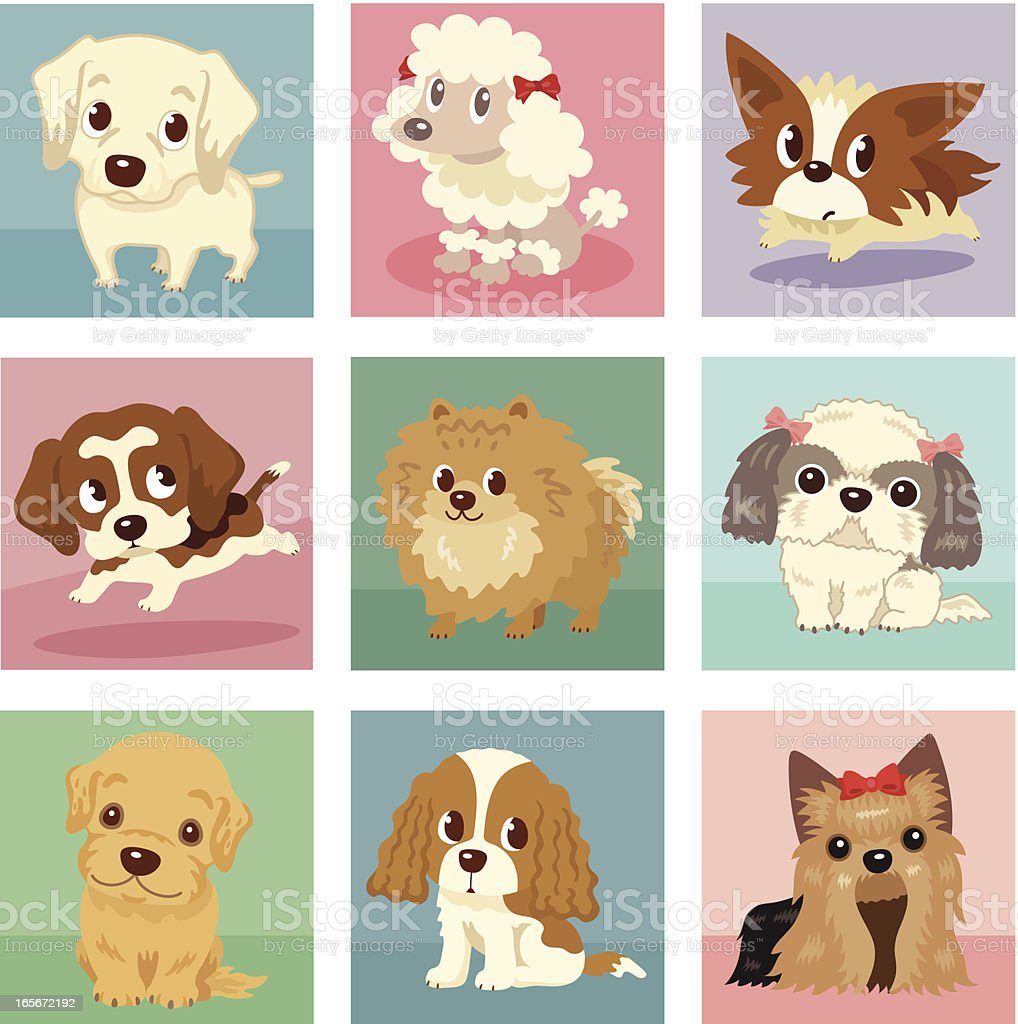 Many poses of puppies vector art illustration