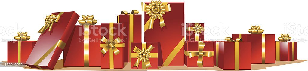 Many red gifts. vector art illustration