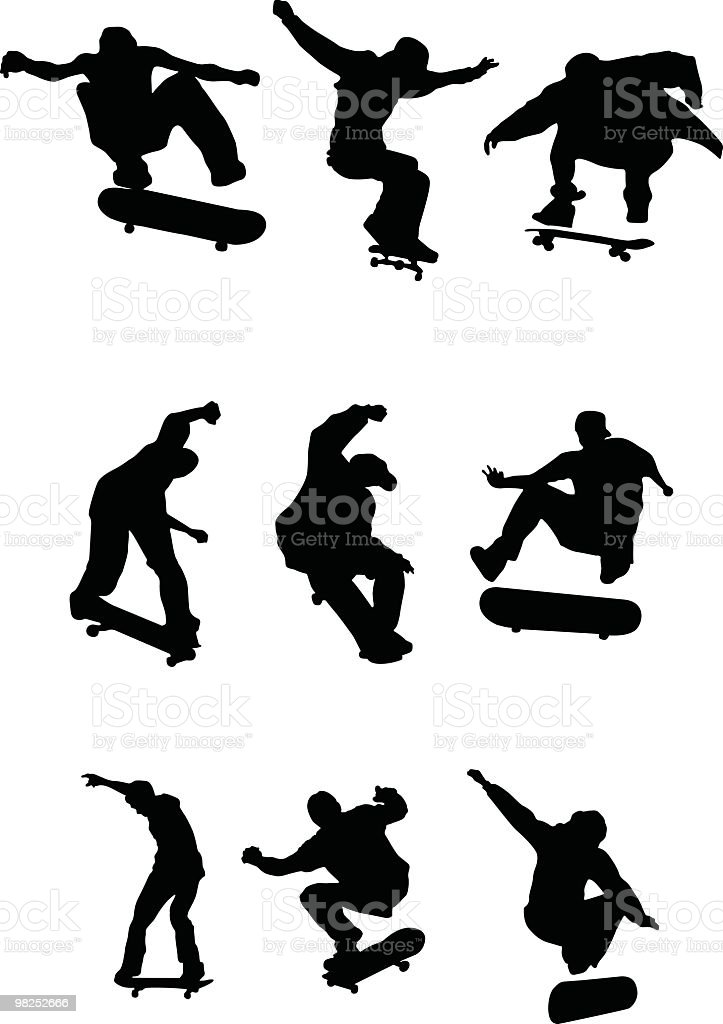 Many skaters royalty-free stock vector art