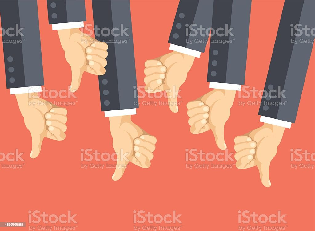 Many thumbs down. Social network dislikes, disapproval, customers feedback vector art illustration