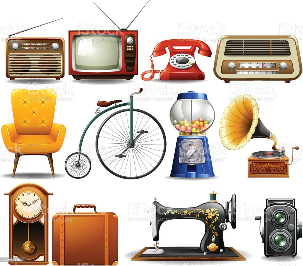 Many type of vintage objects vector art illustration