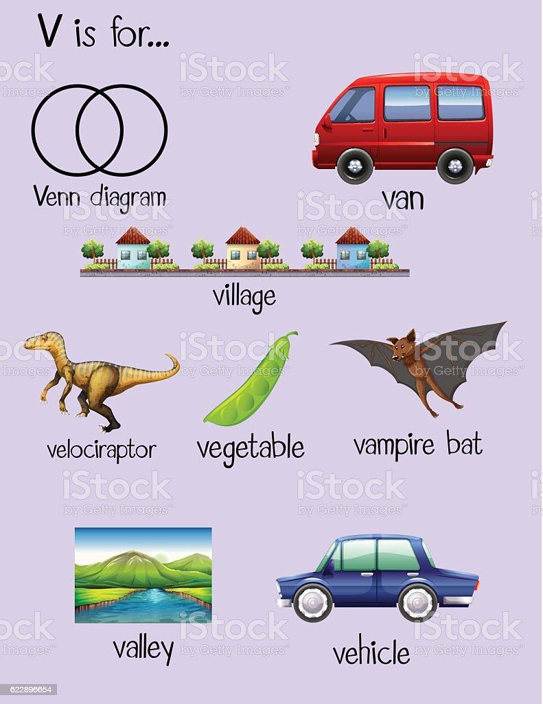 ... letter v stock vector art 622896654 istock : Preschool Letter V Words