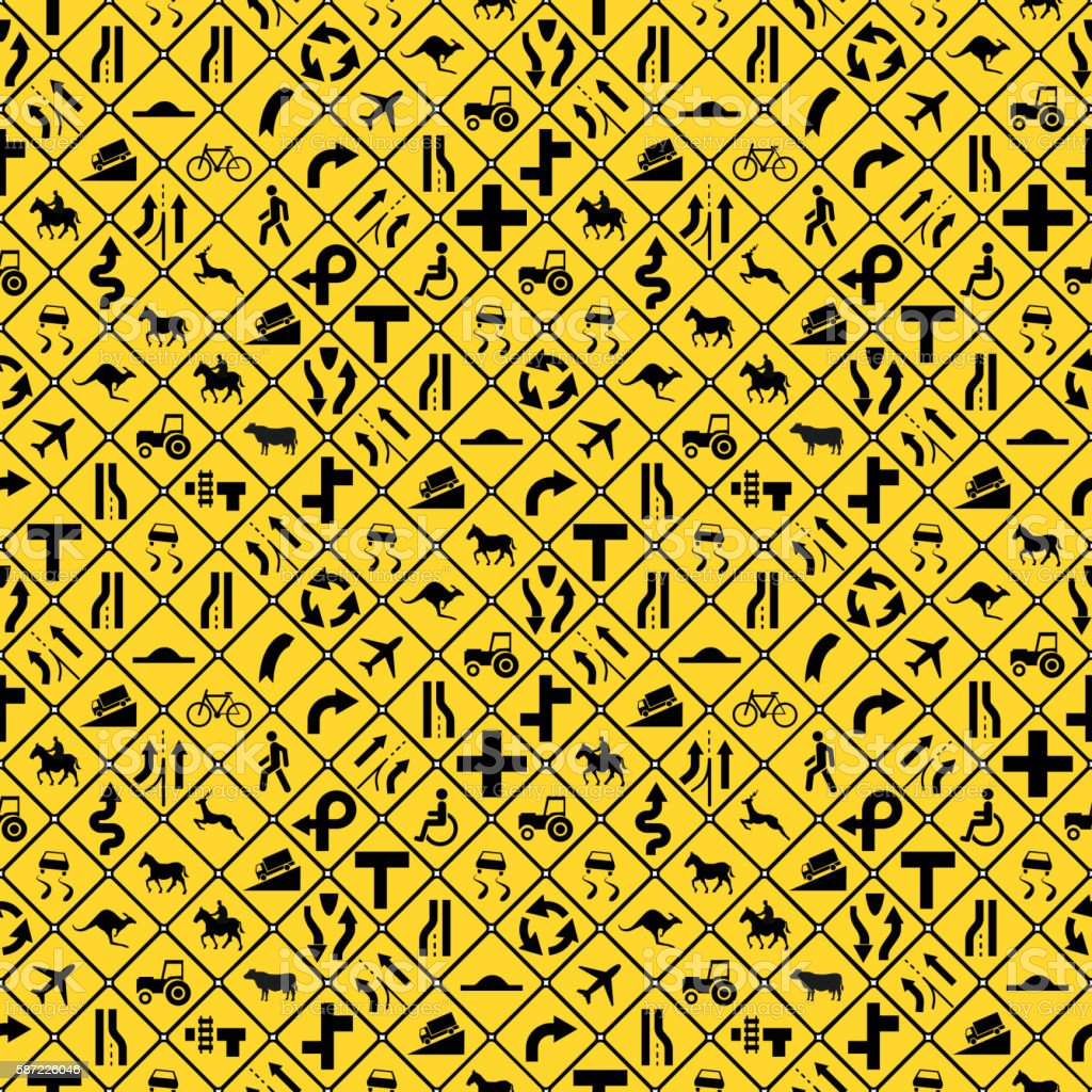 Many yellow road signs seamless pattern vector art illustration