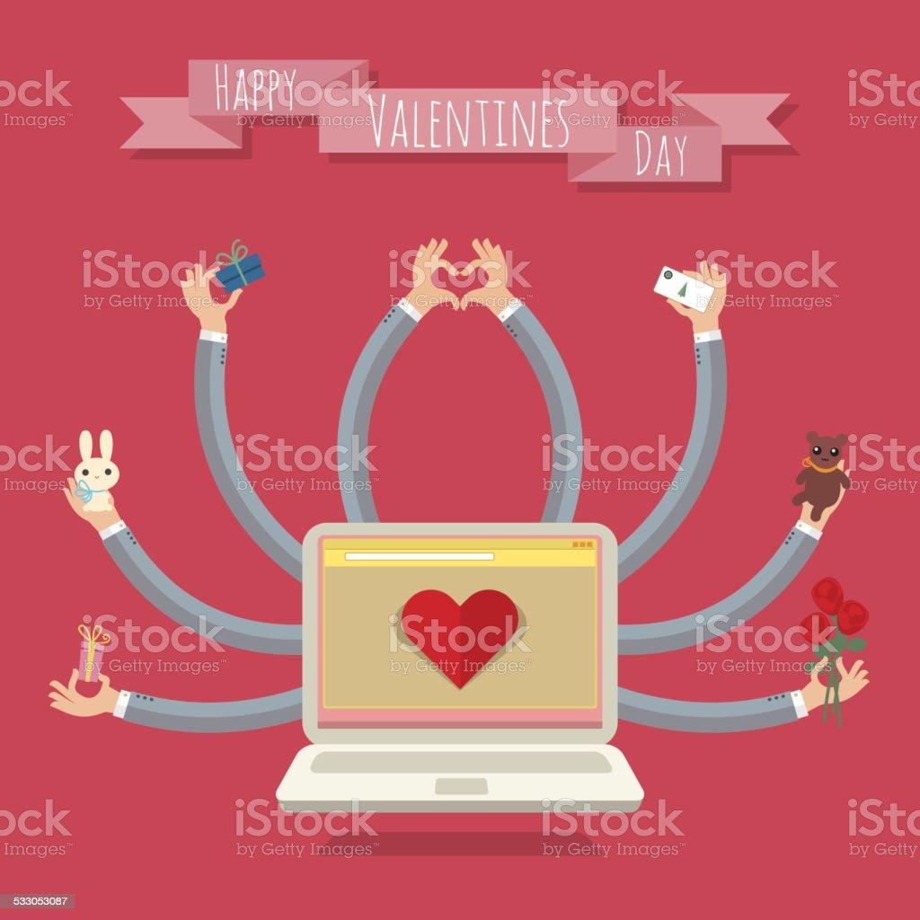 Many-hands laptop. Valentine card vector art illustration