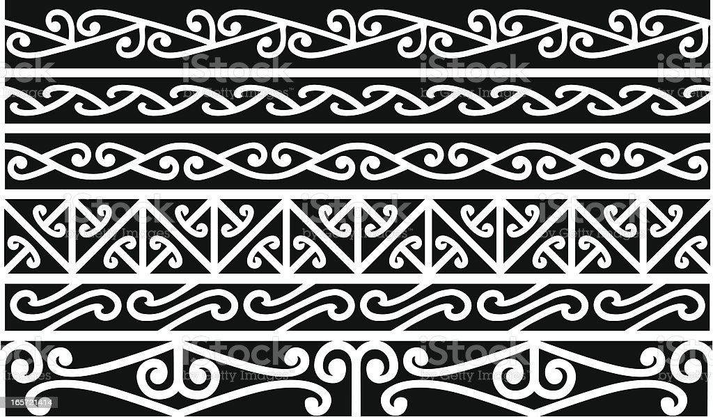 Maori Borders - New Zealand royalty-free stock vector art