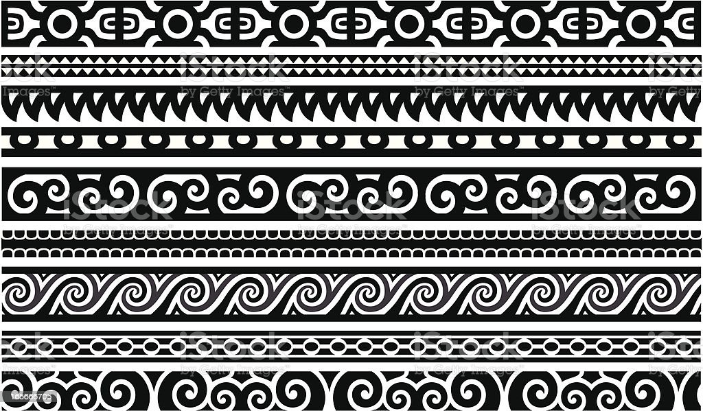 Maori Designs - Borders vector art illustration