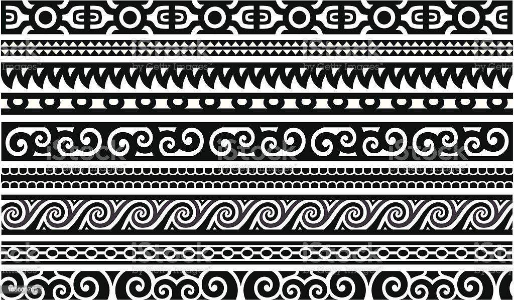 Maori Designs - Borders vector art illustration