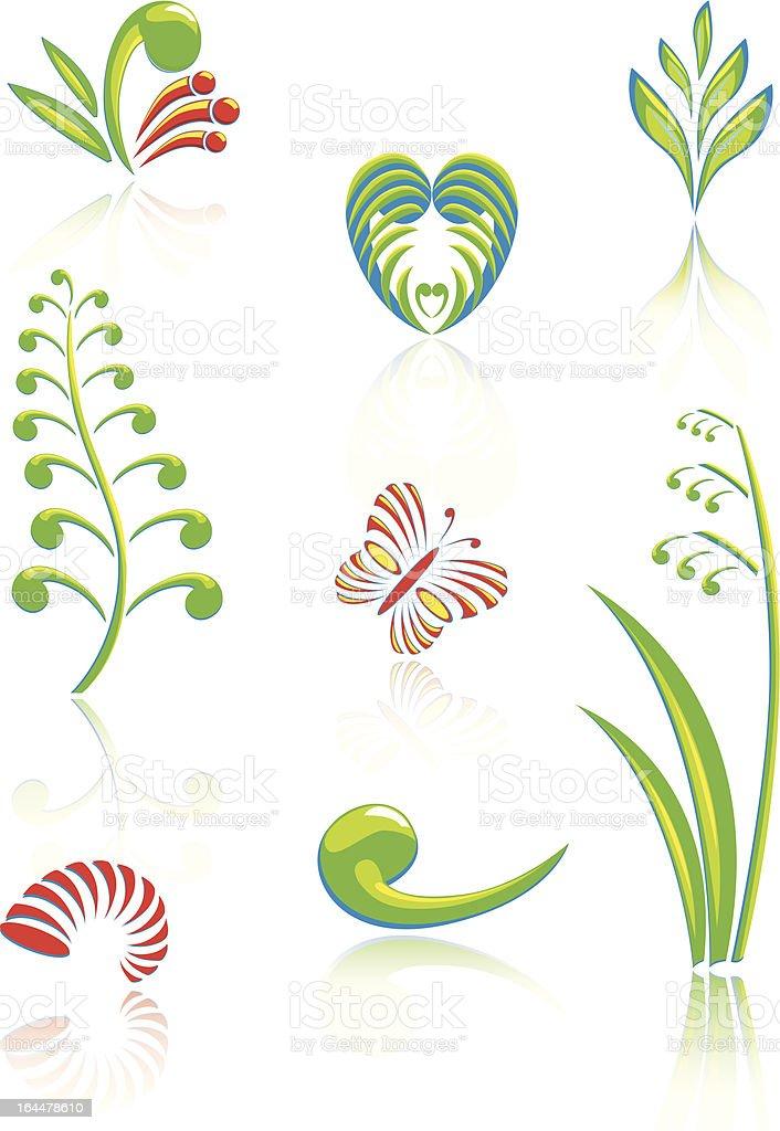 Maori Koru Design Color Elements Set royalty-free stock vector art