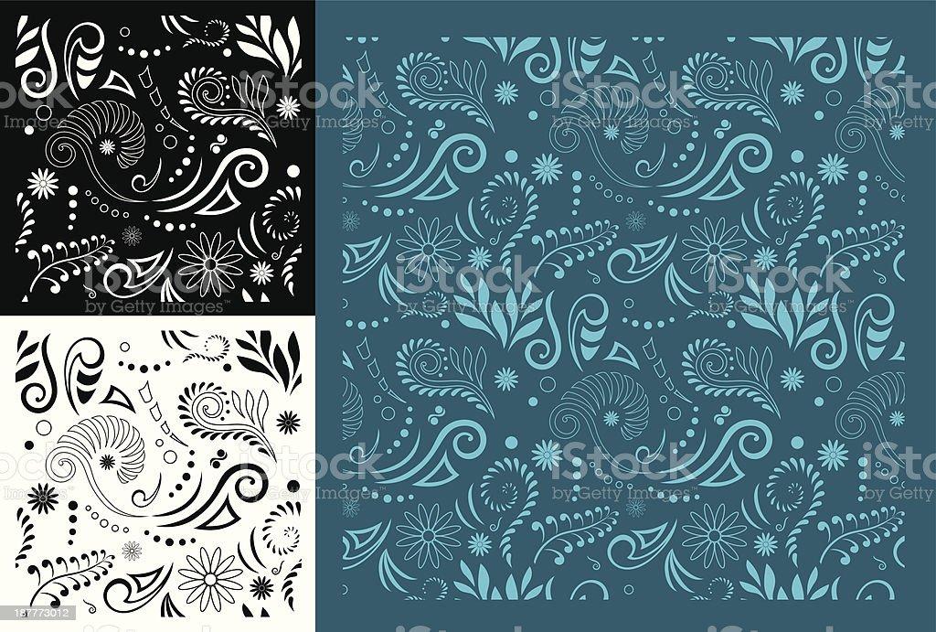 Maori Koru Seamless Pattern vector art illustration