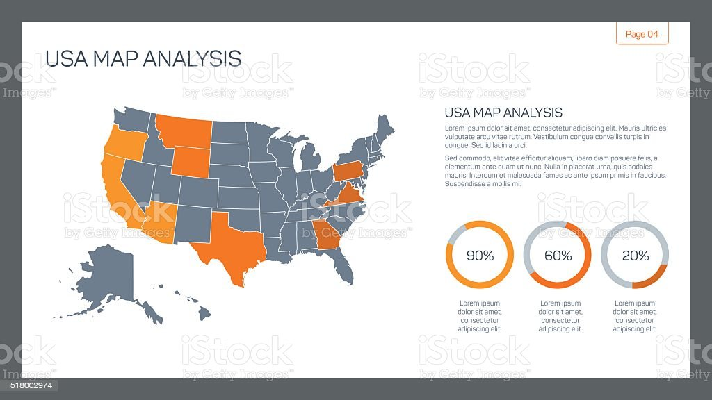 USA map analysis vector art illustration