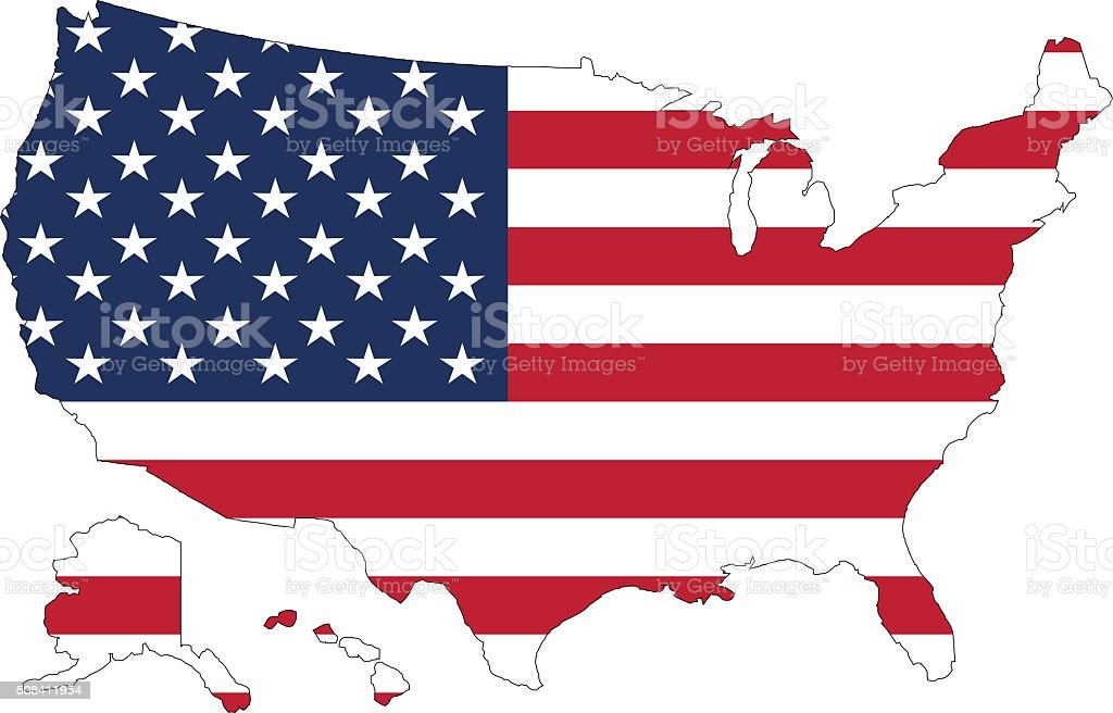 USA map and flag against vector art illustration