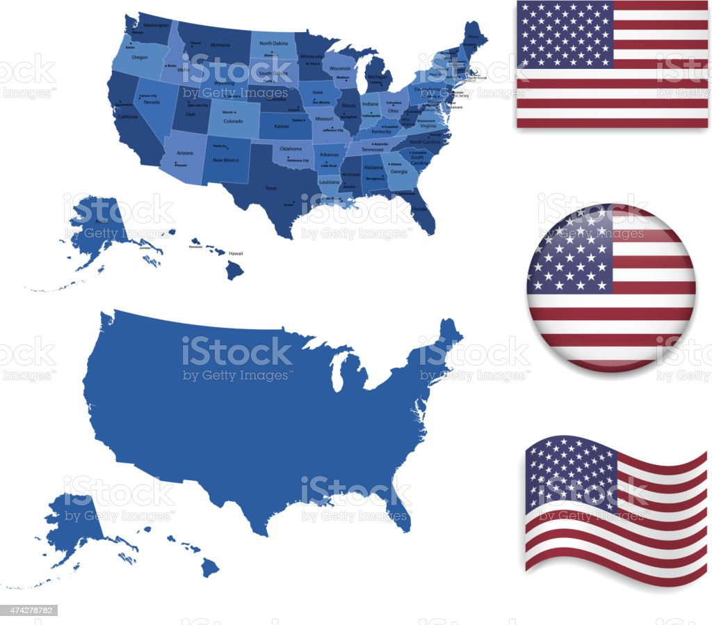 USA Map and Flag Collection vector art illustration
