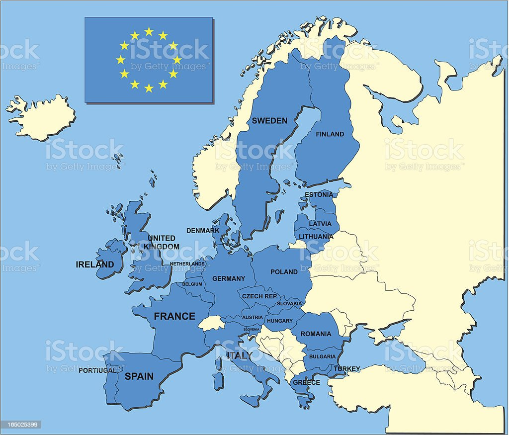 map and flag of european union states in vector format vector art illustration