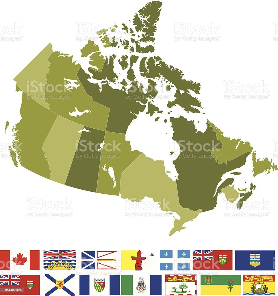 Map and Flags of Canada vector art illustration