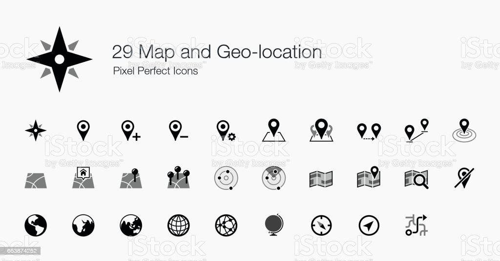 29 Map and Geo-location Pixel Perfect Icons vector art illustration