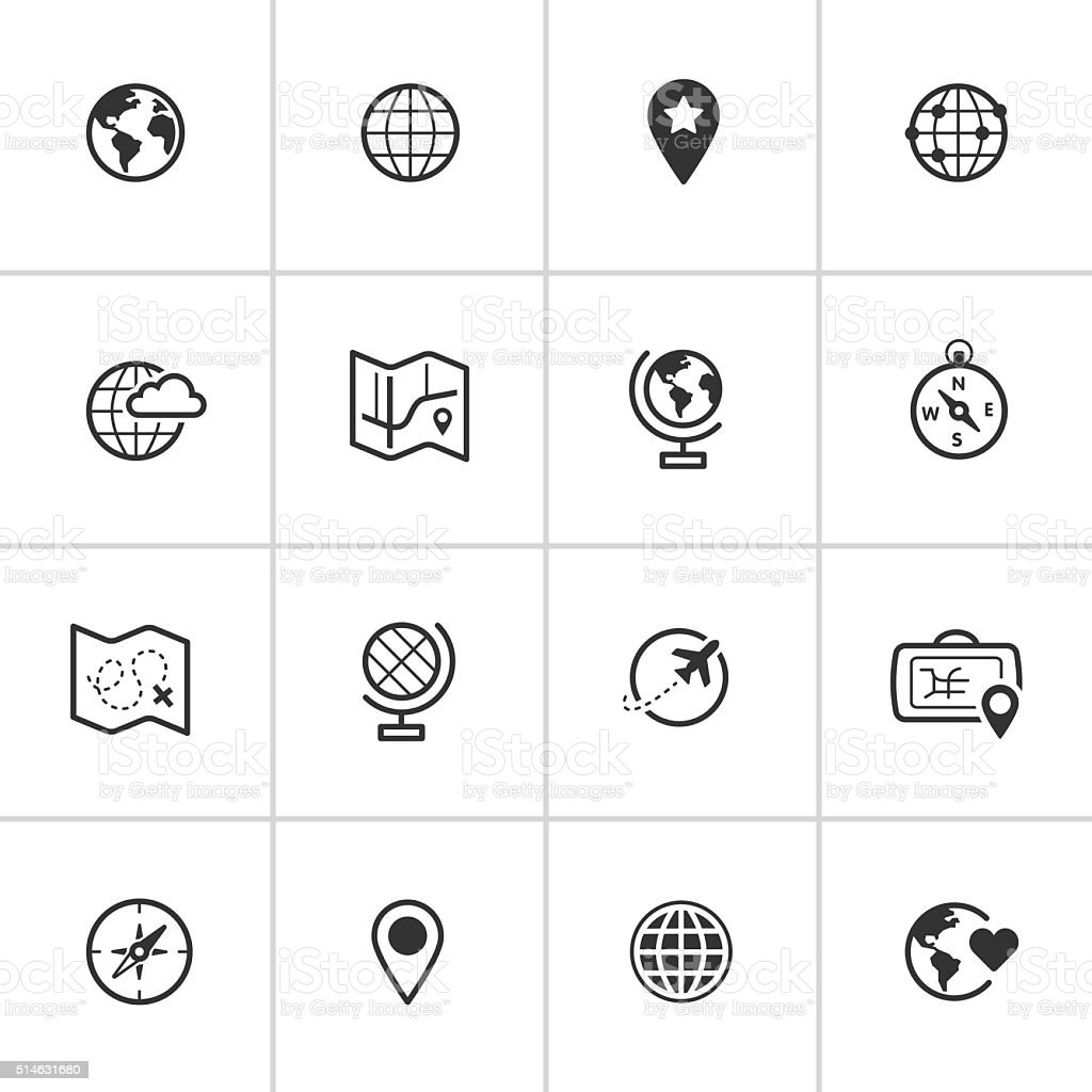Map and Globe Icons — Inky Series royalty-free stock vector art