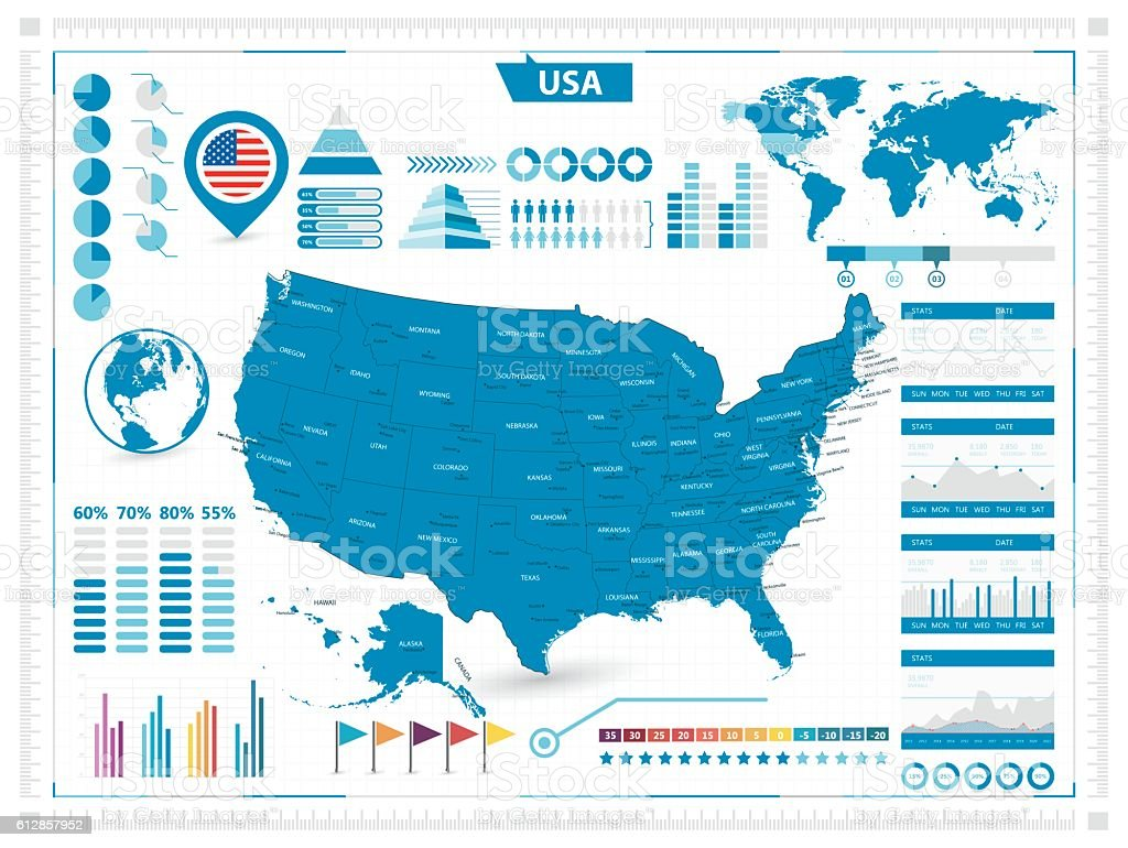 USA map and infograpchic elements vector art illustration