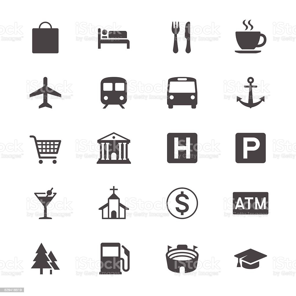 Map and location flat icons vector art illustration