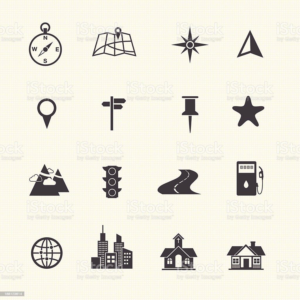 Map and location icons set. vector art illustration
