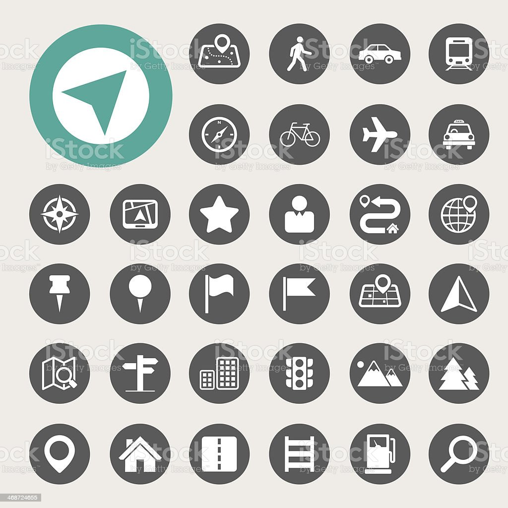 Map and Location Icons set vector art illustration