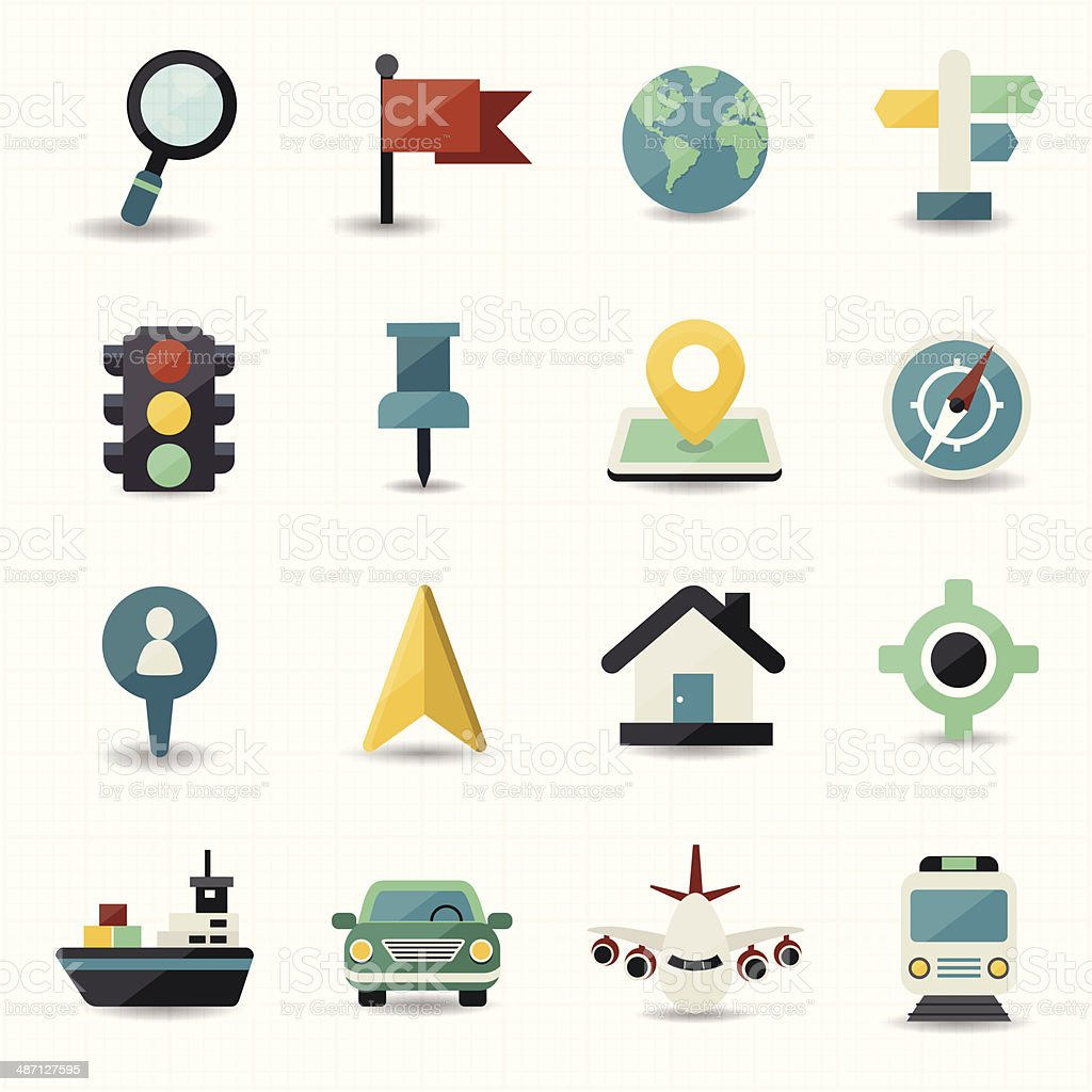 Map and location navigator icons stock photo
