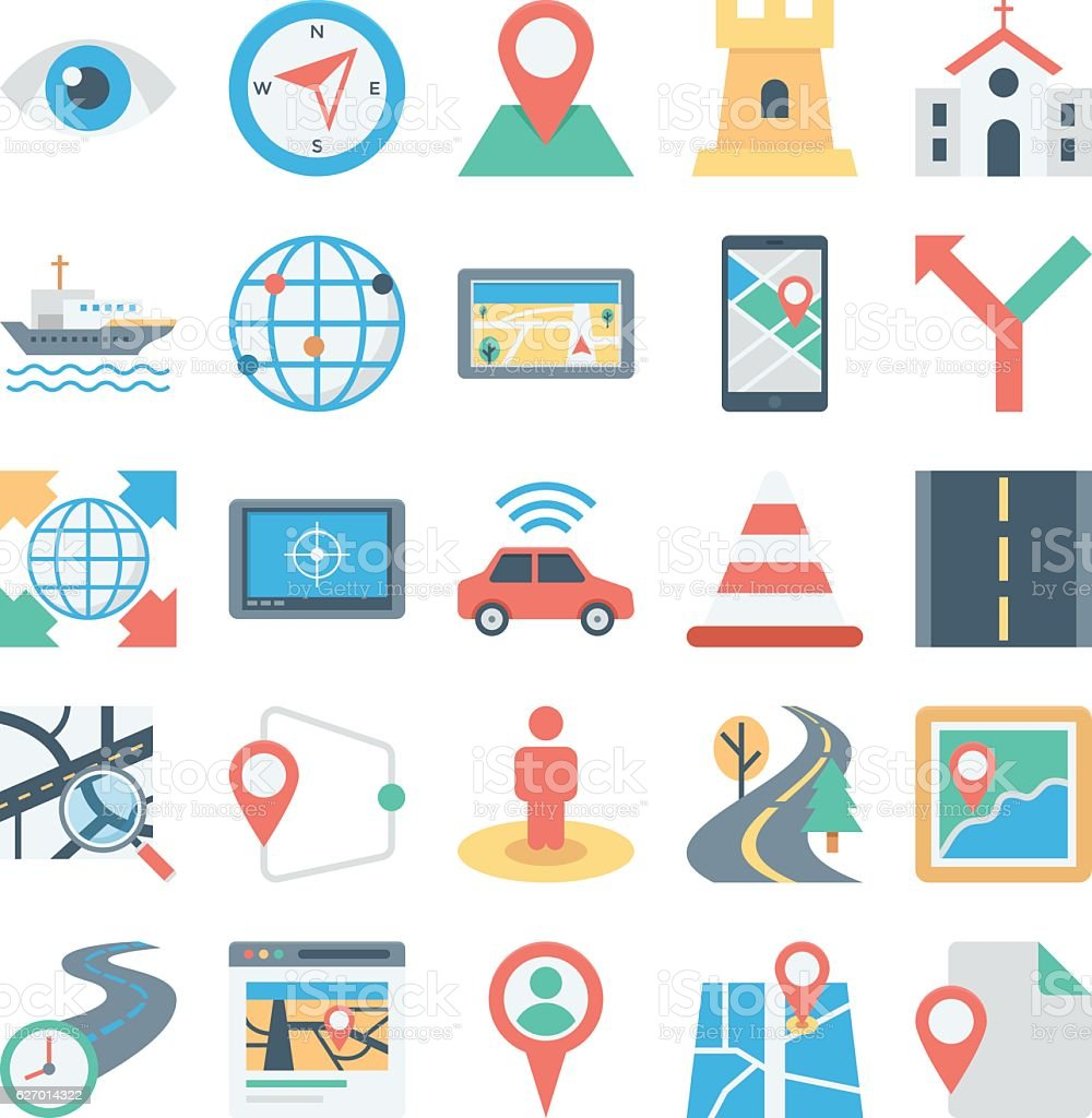Map and Navigation Colored Vector Icons 4 vector art illustration