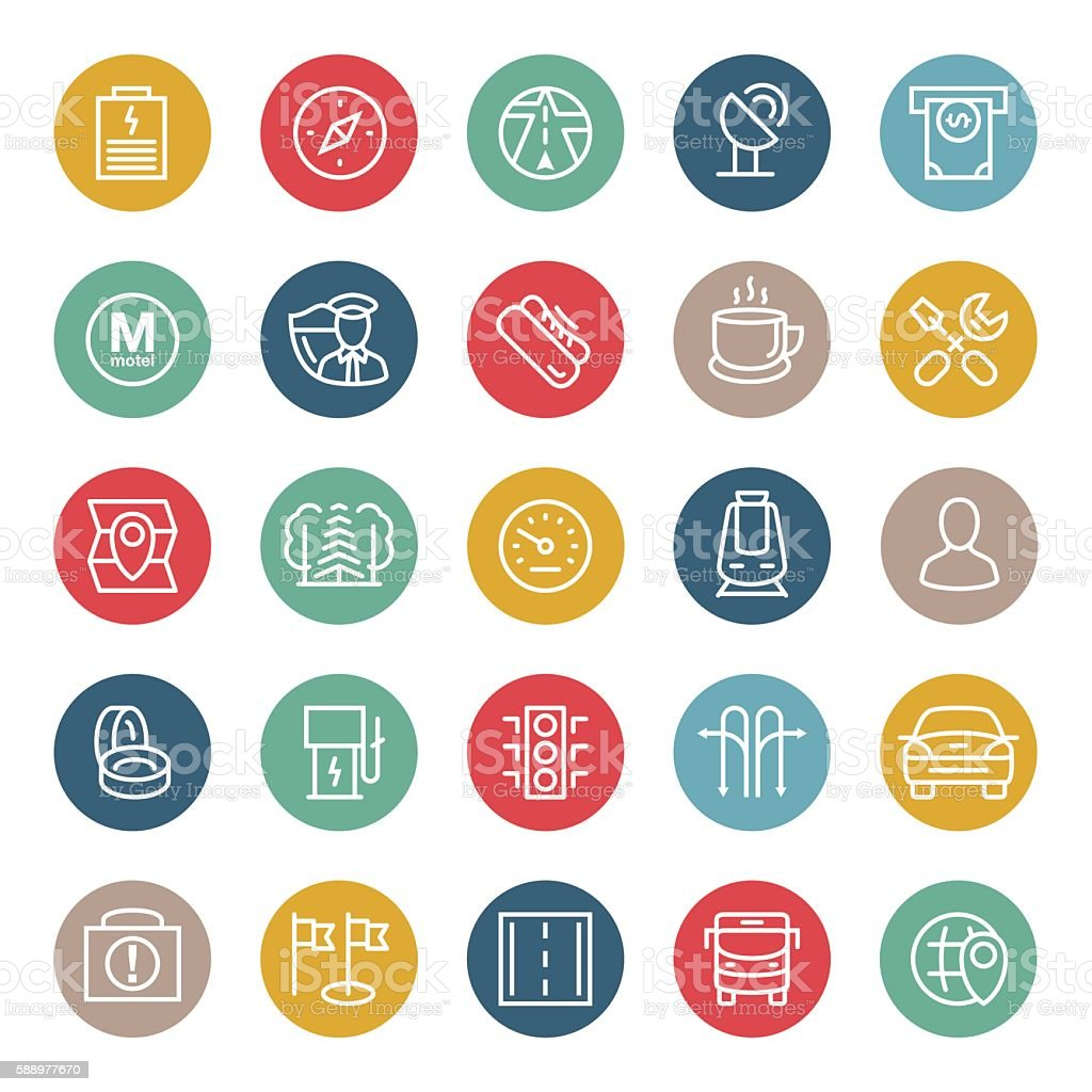 GPS Map and Navigation Line Icons vector art illustration